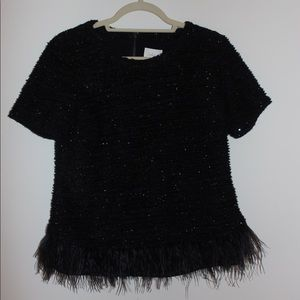 Deletta Black NYE Feather Top - from Anthropology